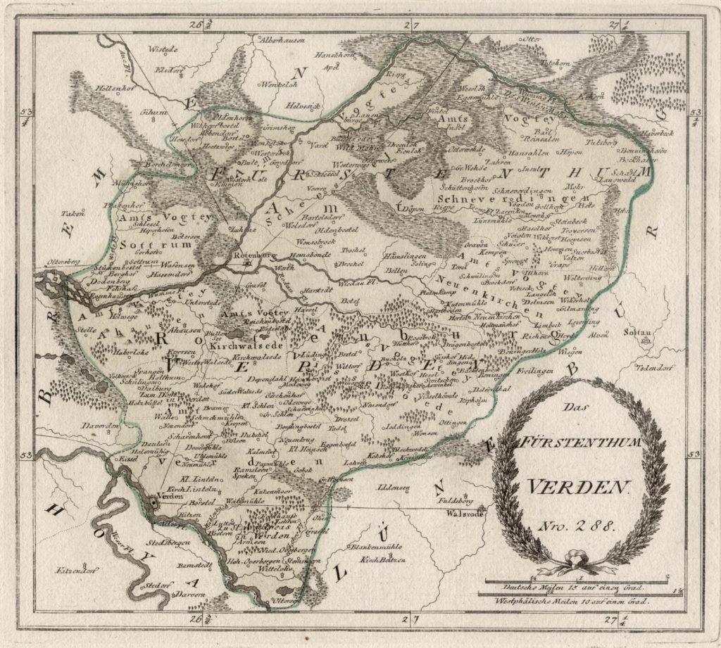 """Landkarte """"Das Fürstentum Verden"""" von Reilly"""
