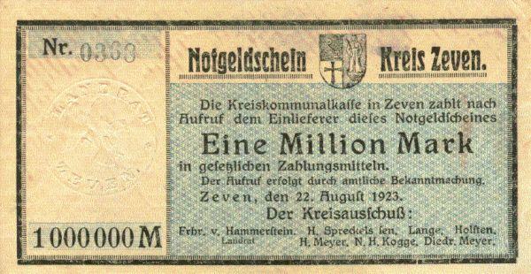 Notgeldschein aus Zeven 1 Millionen Mark aus dem Jahr der Hoch-Inflation 1923